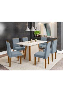 Conjunto De Mesa De Jantar Com Tampo De Vidro Júlia E 6 Cadeiras Isabela Animalle Carrara E Azul