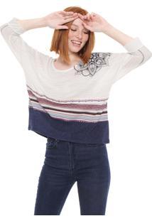Camiseta Desigual Estampada Off-White/Azul