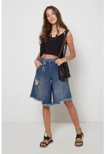 Bermuda Jeans Oh,Boy! Braguilha Deslocada Feminina - Feminino-Azul
