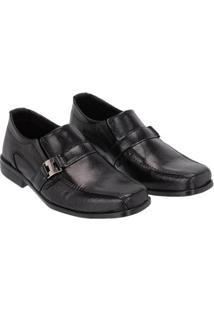 Sapato Social Infantil Bico Quadrado Em Couro Selten Masculino - Masculino-Preto