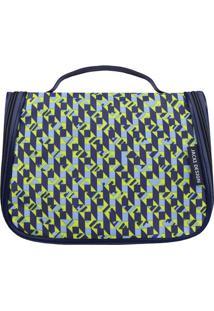 Nécessaire De Viagem - Azul Marinho & Verde Claro - Jacki Design