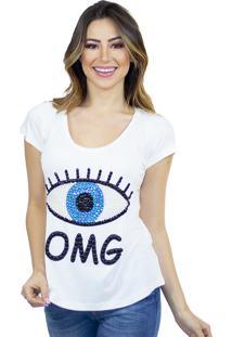 T-Shirt Cavallari Olho Omg Bordada A Mão Off White