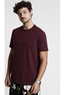 Camiseta Masculina Básica Com Bolso Manga Curta Gola Careca Vinho