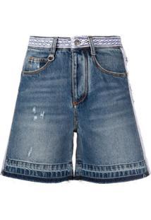 Ermanno Scervino Shorts Jeans Destroyed Com Bordado - Azul