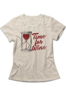 Camiseta Feminina Time For Wine - Feminino-Mescla
