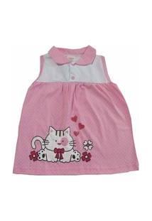 Vestido Para Bebê Happy Baby Rosa De Bolinhas Gatinha Estampada 100 % Algodão