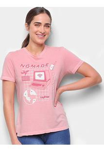 Camiseta T-Shirt Cantão Slim Nomade Digital Feminina - Feminino-Rosa