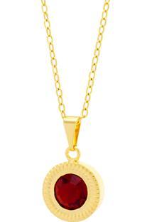 Gargantilha Horus Import Ponto Luz Eye Vermelho Rubi Banhada Ouro 18 K 1061132