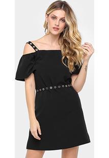 Vestido Evasê Morena Rosa Curto Ombro A Ombro Cinto - Feminino