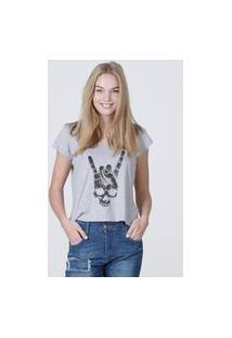 Camiseta Feminina Mirat Rock Skull Mescla