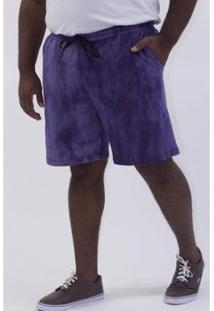 Bermuda Kauê Plus Size Manchada Masculina - Masculino-Azul