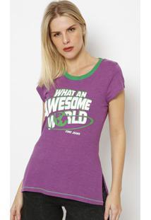 "Camiseta ""What Na Awesome World"" - Roxa & Verde - Cococa-Cola"