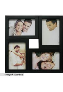 Painel Para 4 Fotos- Preto- 29,5X29,5X6Cm- Kaposkapos