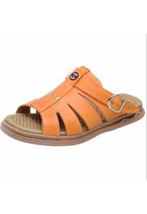Sandália Conforto Em Couro Snap Shoes Laranja