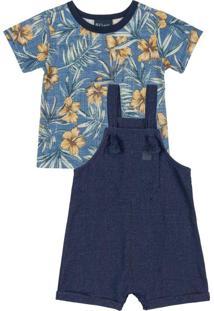 Conjunto Bebê Jardineira E Camiseta Azul