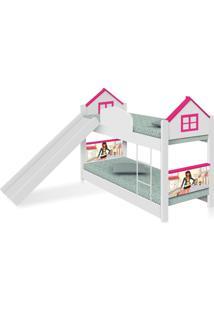 Beliche Infantil Casa Menina Moã§A Com Escorregador E Colchãµes Casah - Branco/Rosa - Menina - Dafiti