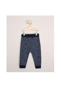 Calça De Moletom Infantil Estampada Monstrinhos Azul Marinho