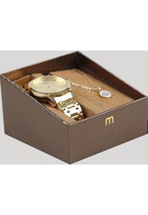 Kit De Relógio Analógico Mondaine Feminino + Colar - 99107Lpmvde1Kc Dourado - Único