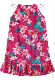 Vestido Rosa Com Amarração Menina Malwee Kids