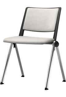 Cadeira Up Assento Estofado Branco Base Fixa Cromada - 54315 Sun House