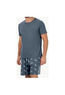 Pijama Masculino Curto Cor Com Amor 30097 Azul