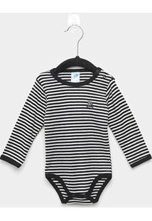 Body Bebê Pulla Bulla Manga Longa Listrado - Masculino-Preto
