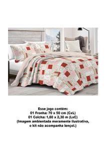 Colcha Patchwork Camesa Duchese Microfibra Solteiro 160X230 Rosa