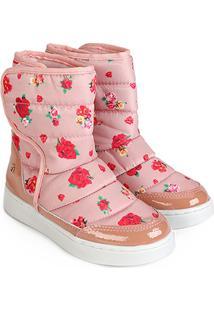 Bota Infantil Bibi Urban Boots Floral Feminina - Feminino-Rosa