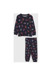 Pijama Brandili Longo Infantil Foguete Azul-Marinho