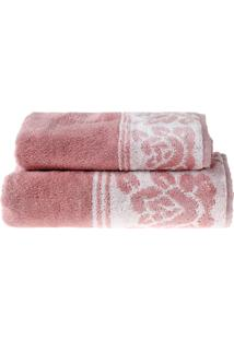 Jogo De Toalhas Banho E Rosto Elegance Rosa - 2 Un