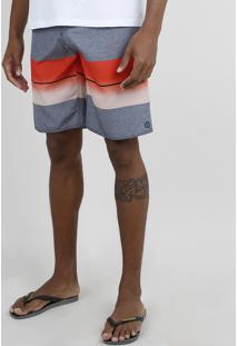 Bermuda Surf Masculina Listrada Com Bolso Preta