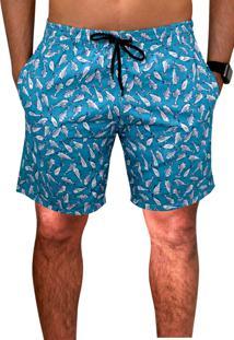 Bermuda Praia Ks Tactel Estampa Verão C/ Bolsos Laterais Ref.394.13 Azul