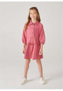 Vestido Infantil Menina Polo Manga Longa Rosa
