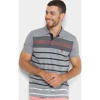 f8eb8bf1e0b0b Camisa Polo Aleatory Listrada Fio Tinto Masculina - Masculino-Cinza+Preto