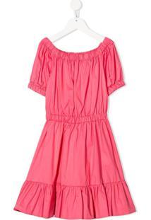 Piccola Ludo Vestido Mangas Curtas Com Pregas - Rosa