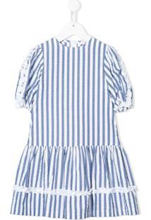 Il Gufo Vestido Com Listras E Acabamento Franzido - Branco