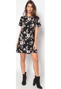 Vestido Floral Com Vazado - Preto & Cinza - Sommersommer