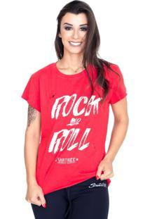 Camiseta Rasgos Shatark Rock And Roll Vermelho