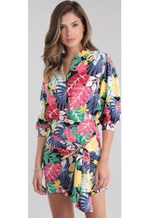 Vestido Patbo Estampado Tropical Preto