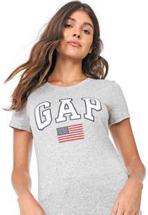 Camiseta Gap Estampada Cinza