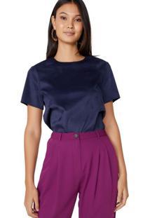 Amaro Feminino Camiseta Manga Curta Suede, Azul Escuro