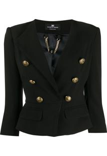 Elisabetta Franchi Embossed Button Fitted Jacket - Preto