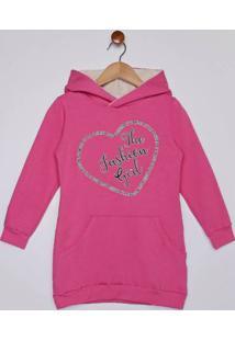 Vestido Molecotton Com Capuz Infantil Para Menina - Rosa