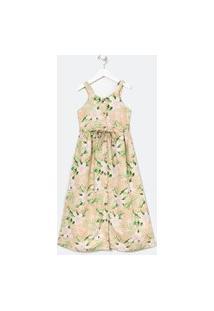 Vestido Infantil Floral Botões - Tam 5 A 14 Anos | Fuzarka (5 A 14 Anos) | Rosa | 11-12