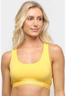 Sutiã Calvin Klein Top Nadador Reveillon Cotton - Feminino-Amarelo
