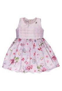 Vestido Infantil Malha Com Bordado E Estampa Floral - Anjos Baby Chic Rosa