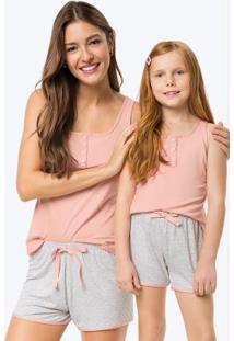 Pijama Rosa Claro Poá Feminino Tal Mãe