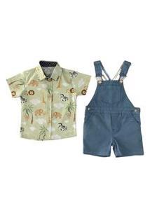 Jardineira Sarja Azul + Camisa Safari Social Mabu Denim
