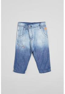 Calça Bebê Jeans Saruel Silk Reserva Mini Masculina - Masculino-Azul Petróleo