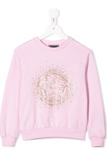 Young Versace Suéter Com Aplicação De Logo - Rosa